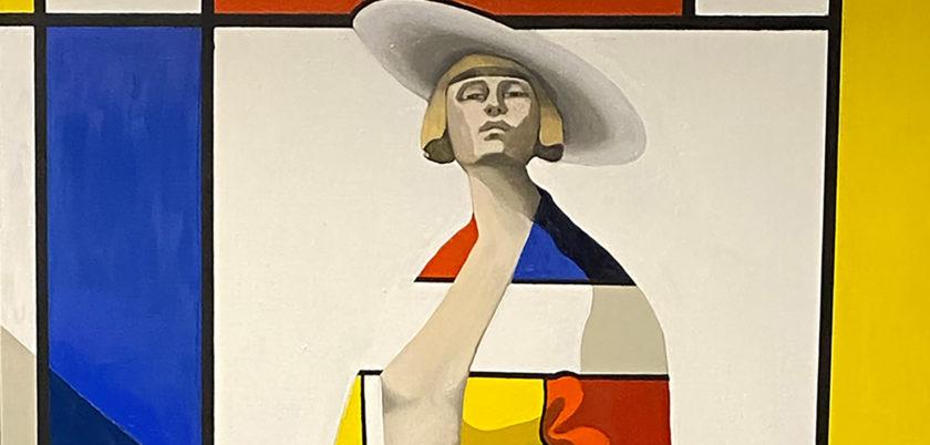 Edvarda A Braanaas: Edvarda A. Braanaas: MADAME MONDRIAN, (2020), olje på lerret, 130x80 cm